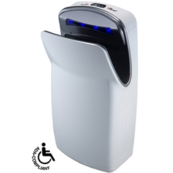 World Dryer VMax High-Speed Vertical Automatic Hand Dryer *** Discontinued *** Available in two finishes: White and Silver, Extremely fast 10–12 seconds drying time, Surface mounted