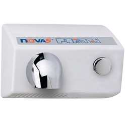 World Dryer NOVA 5 Push Button Hand Dryer White Push button Operated With Adjustable Timing. Extremely Durable And Vandal Resistant