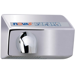 World Dryer NOVA 5 Automatic Hand Dryer Brushed Chrome Available With Surface Mounted or Recessed Options, Push button Operated With Adjustable Timing
