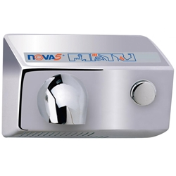 World Dryer NOVA 5 Push Button Hand Dryer Brushed Chrome Push button Operated With Adjustable Timing, Extremely Durable And Vandal Resistant, Very Low Sound Level